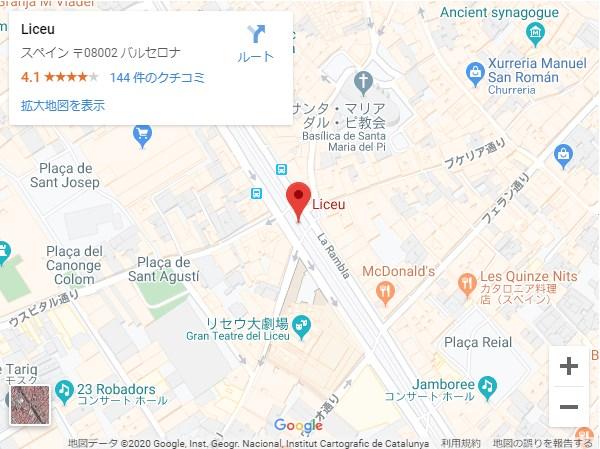 La Rambla(ランブラス通り)のメトロLiceu駅付近,地図